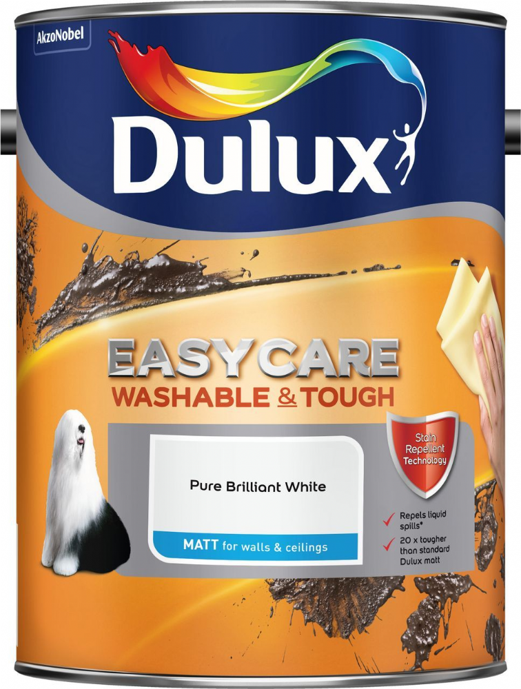 Dulux Easycare Washable and Tough Matt Pure Brilliant White 5L